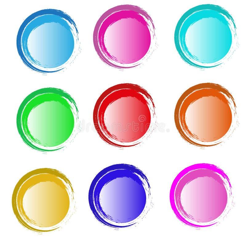 Текстура круга цвета акварели Ход чернил круглый на белой предпосылке Иллюстрация вектора пятен круга grunge иллюстрация вектора