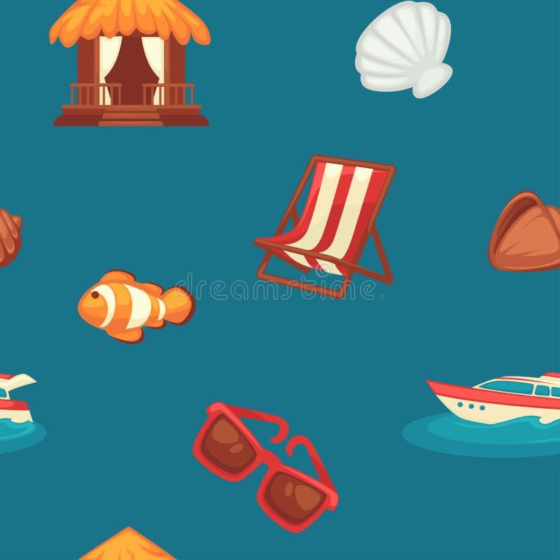 Текстура лета бесконечная с атрибутами на каникулы на взморье бесплатная иллюстрация