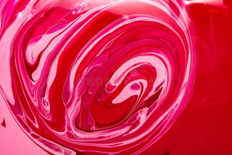Текстура маникюра Красная мраморная предпосылка Продукт образца косметический стоковая фотография rf