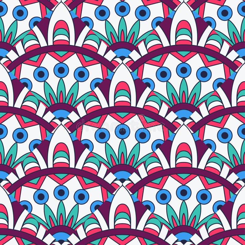 Текстура мандалы в ярких цветах абстрактный вектор предпосылки Безшовная картина на индийском стиле иллюстрация вектора