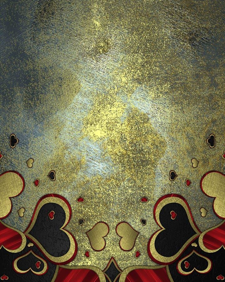 Текстура металла с сделанными по образцу сердцами Элемент для конструкции Шаблон для конструкции скопируйте космос для брошюры об бесплатная иллюстрация