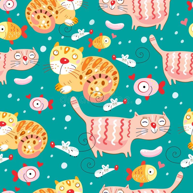 текстура мышей рыб котов бесплатная иллюстрация