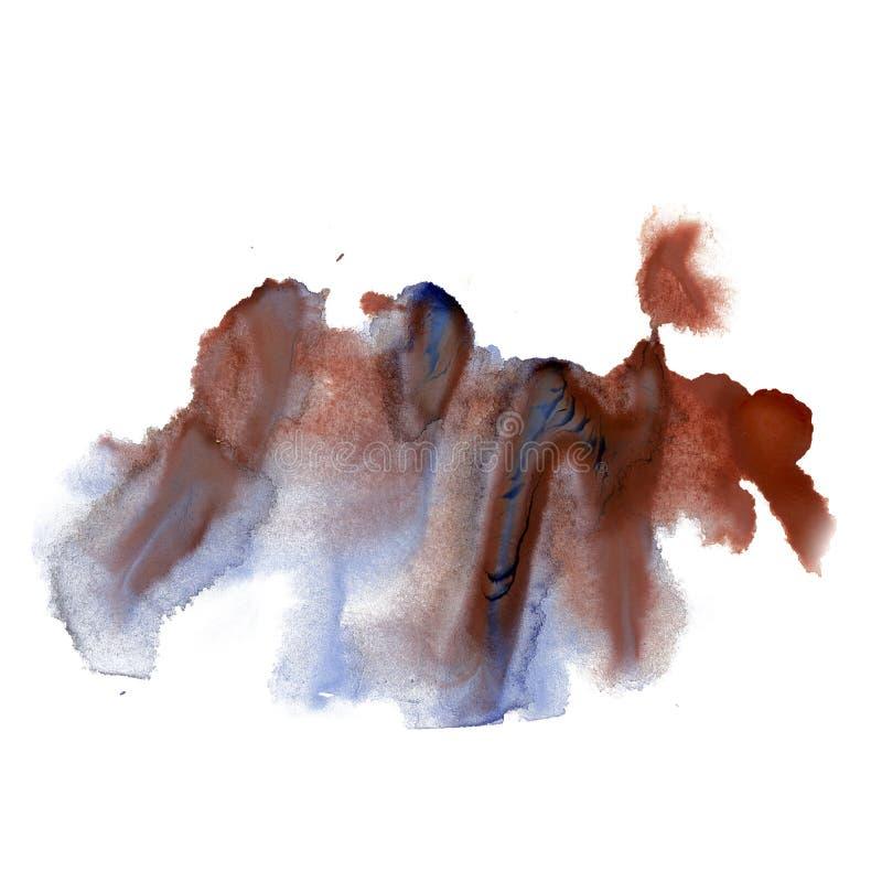 Текстура нашлепки пятна макроса акварели голубого коричневого цвета краски watercolour splatter чернил жидкостная изолированная н иллюстрация вектора