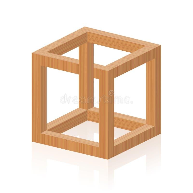 Текстура невозможного куба обмана зрения деревянная иллюстрация вектора