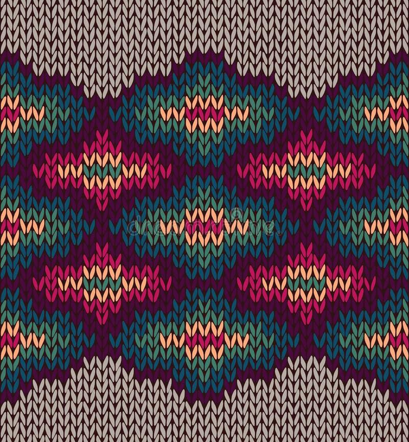 Текстура орнамента Etnic Knit шерстяная безшовная иллюстрация вектора