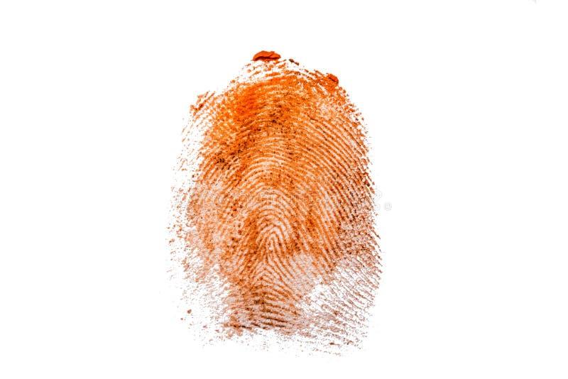 Текстура отпечатка пальцев в оранжевой краске на белой изолированной предпосылке иллюстрация штока