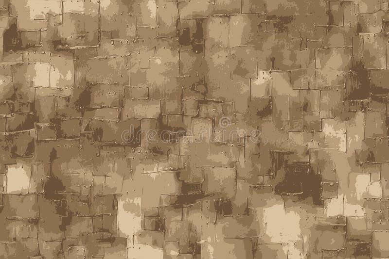 Текстура патины медная с заклепанной предпосылкой металлических пластинк иллюстрация вектора