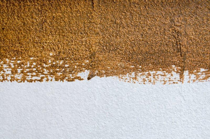 Текстура покрашенной стены белая и коричневая цветов стоковое фото