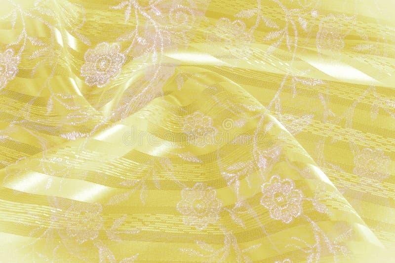 Текстура, предпосылка, картина Желтая ткань ткани ткани ткани стоковая фотография rf