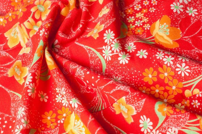 Текстура, предпосылка, картина Ткань хлопка красного цвета, на стоковое фото rf