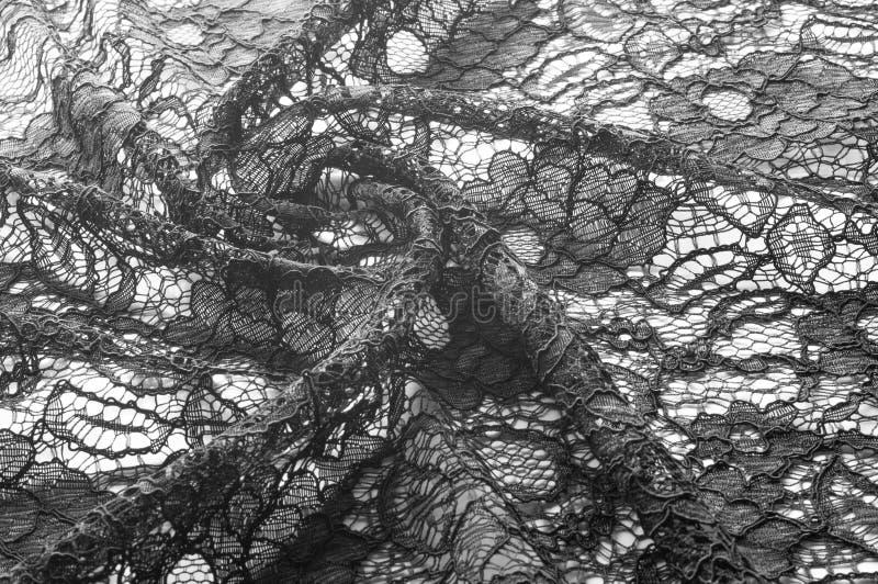 Текстура, предпосылка, картина Ткань черного шнурка Предпосылка o стоковые фотографии rf