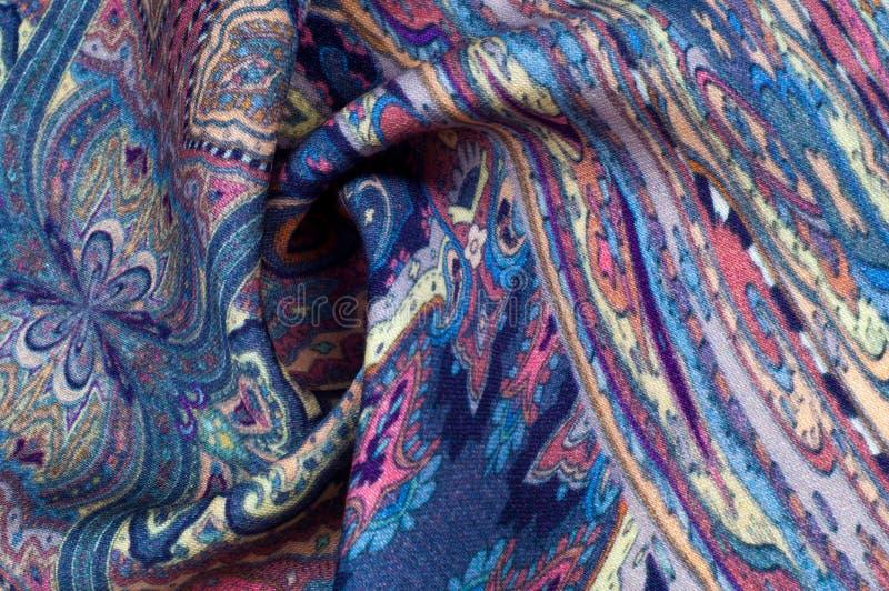 Текстура предпосылки, картина ткань Пейсли голубого цвета с a стоковая фотография rf