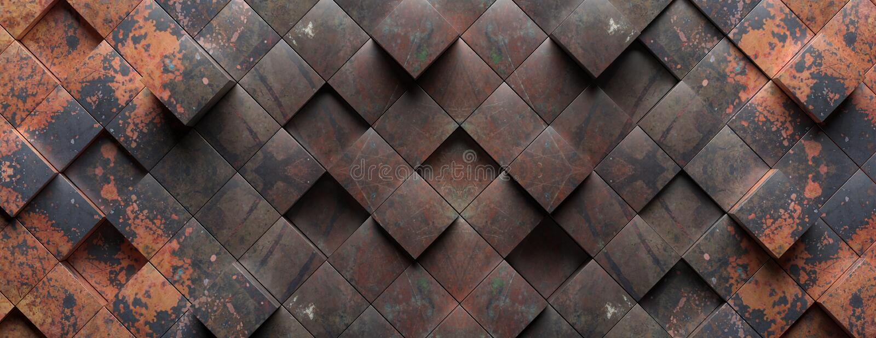 Текстура предпосылки промышленного металла ржавая, картина элементов формы куба : стоковое фото rf