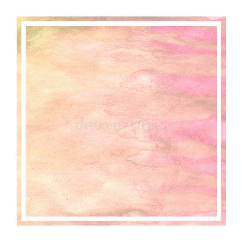 Текстура предпосылки рамки теплой желтой акварели руки вычерченной прямоугольная с пятнами стоковое фото rf