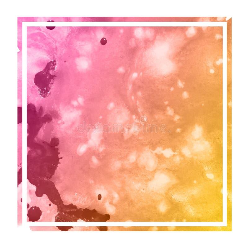 Текстура предпосылки рамки теплой оранжевой акварели руки вычерченной прямоугольная с пятнами стоковая фотография rf