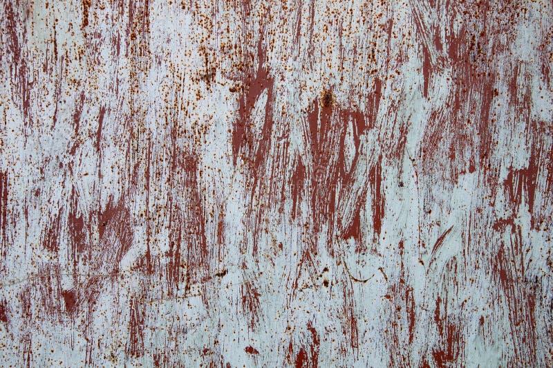 Текстура предпосылки старого ржавого поврежденного металла Остатки пестротканой краски на листе утюга иллюстрация вектора