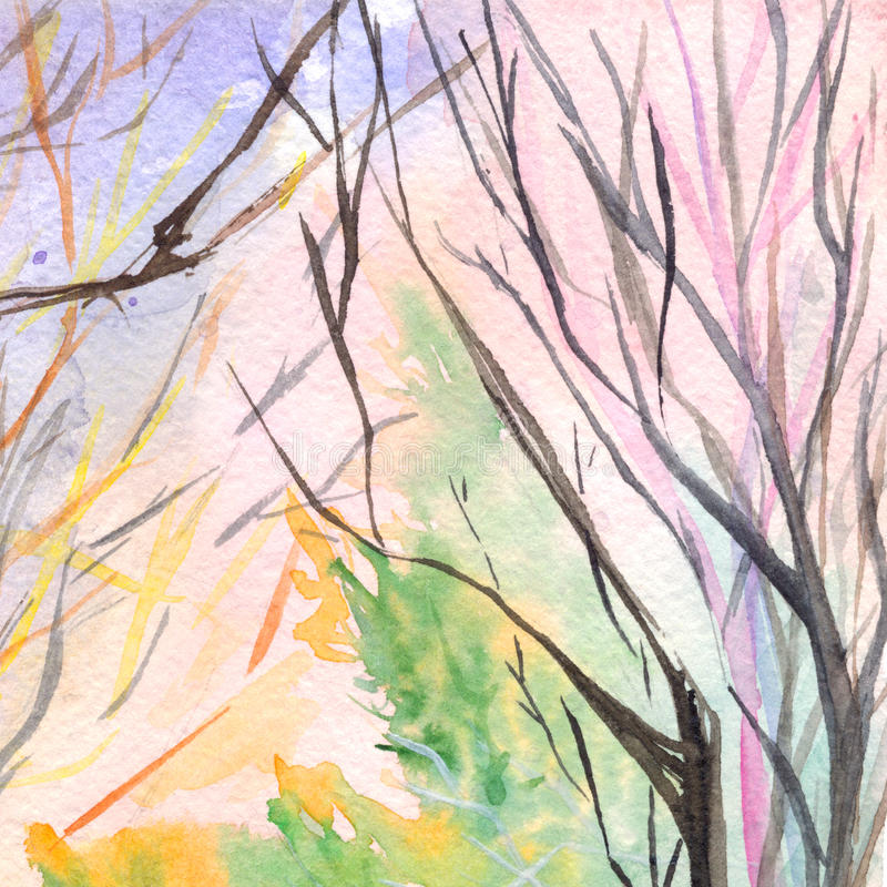 Текстура предпосылки парка дерева природы осени акварели деревянная иллюстрация вектора