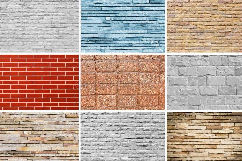 Текстура предпосылки цемента и камня blick стены установленная стоковые фотографии rf