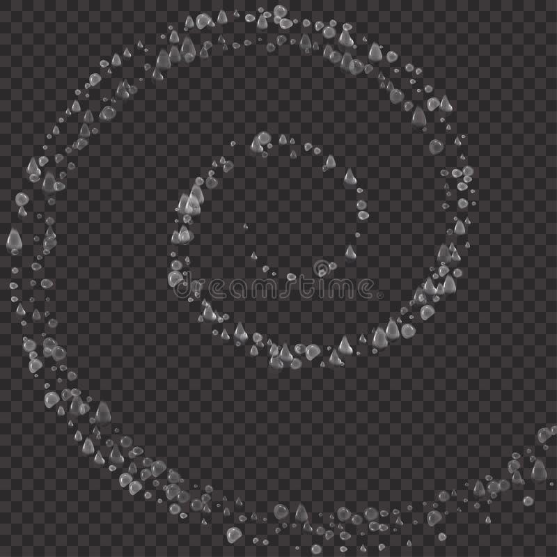 Текстура пузырей подводная, спиральная форма изолированная на прозрачной предпосылке Vector газированный воздух, газ или очистите бесплатная иллюстрация