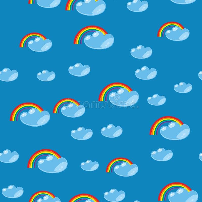 Текстура 635 радуги и облака шаржа безшовная стоковое изображение rf