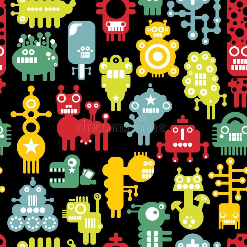 Текстура робота и извергов милая безшовная. бесплатная иллюстрация