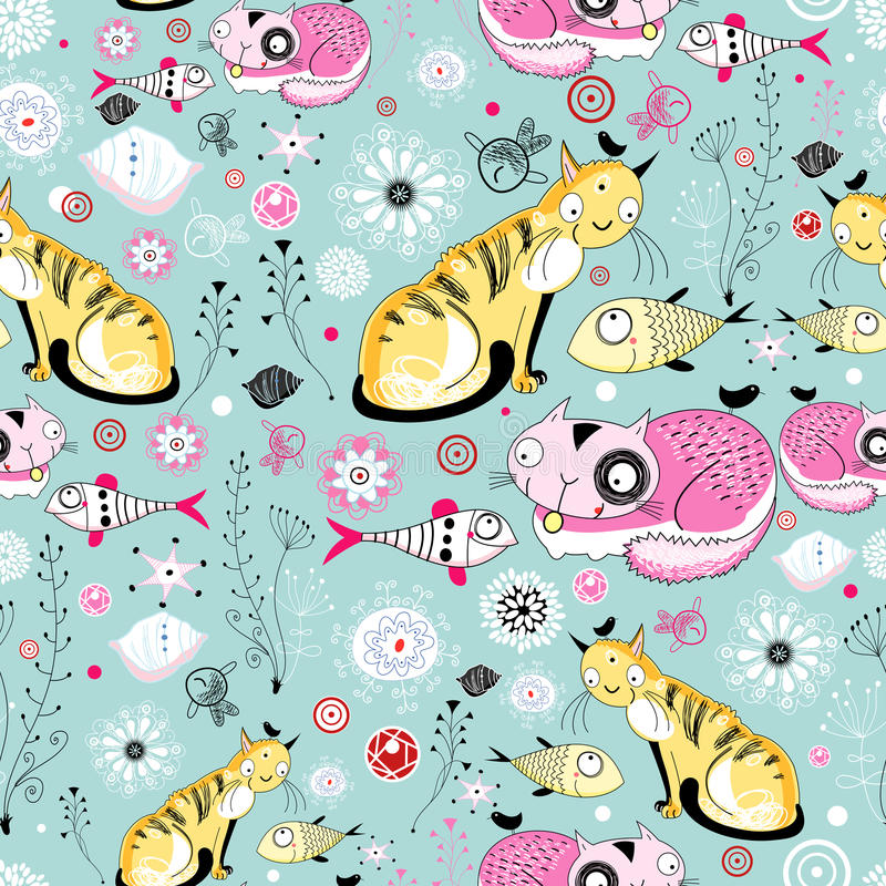 текстура рыб котов иллюстрация штока