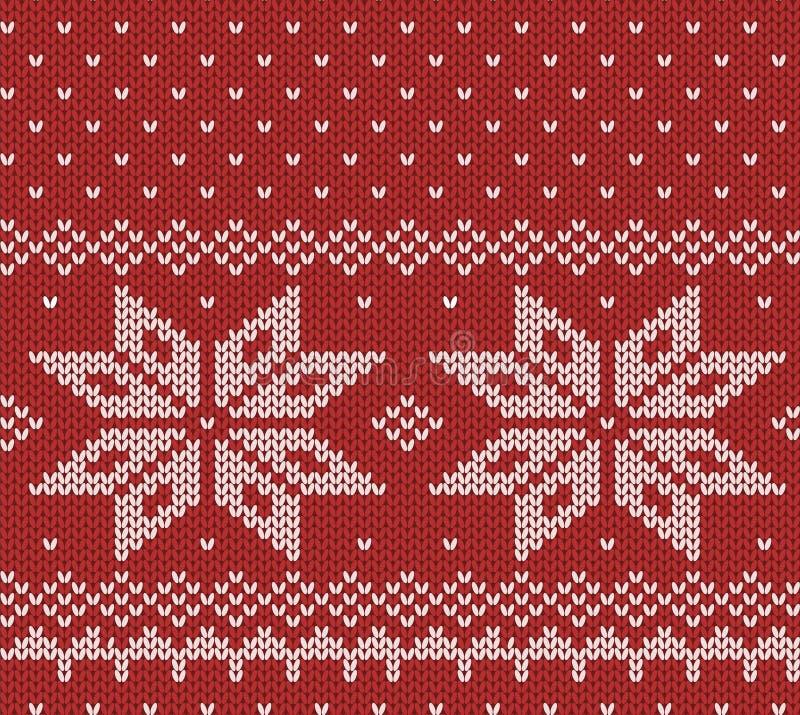 Текстура свитера Норвегии праздничная красная Справедливый дизайн острова иллюстрация вектора