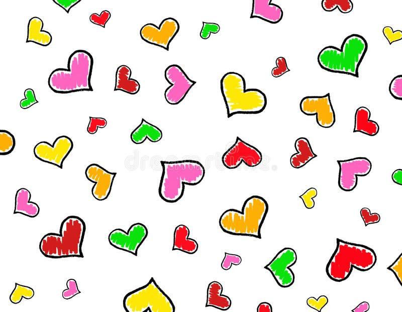 текстура сердец предпосылки цветастая иллюстрация штока