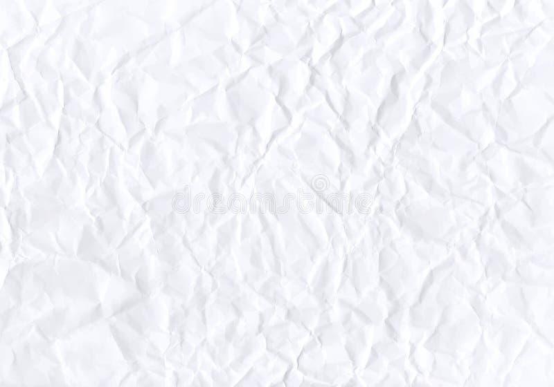Текстура скомканной горизонтальной белой бумаги вектор иллюстрация штока