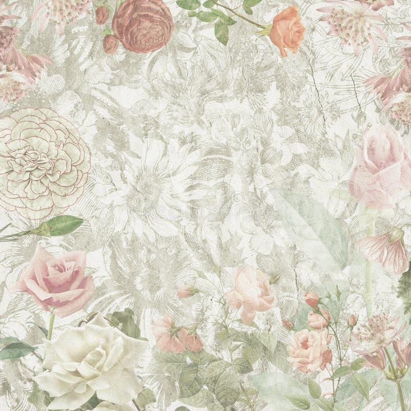 Текстура старых цветков бумажная иллюстрация штока
