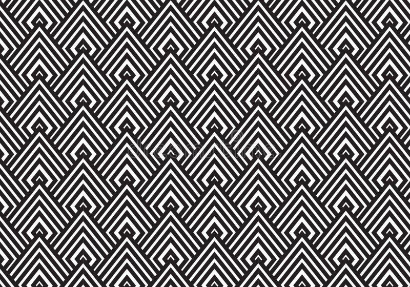 текстура стиля Арт Деко черно-белая Геометрическая предпосылка картины иллюстрация вектора