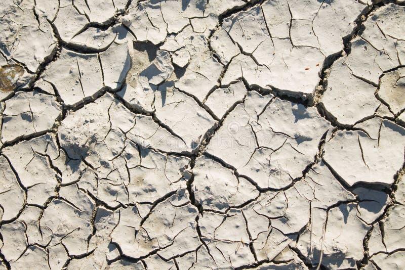 Текстура сухой треснутой серой глины с тенью солнца стоковая фотография rf