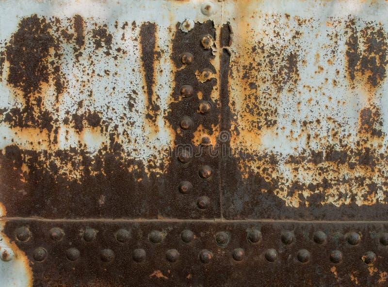 Текстура с заклепками, абстрактная предпосылка металла ржавчины grunge стоковая фотография rf