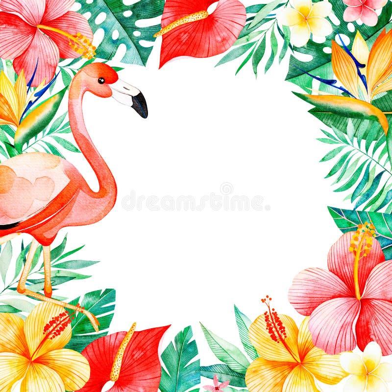 Текстура с зелеными цветами, ветвь, экзотические цветки, тропические листья, листва, ладонь выходит, фламинго иллюстрация штока