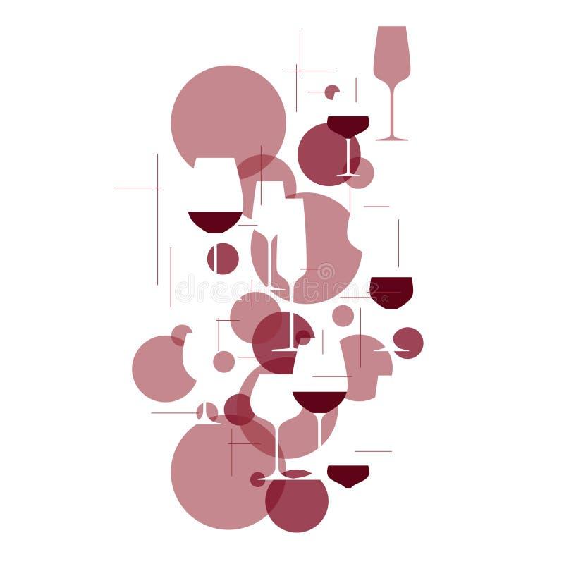 Текстура с очками и красным виноградом иллюстрация штока