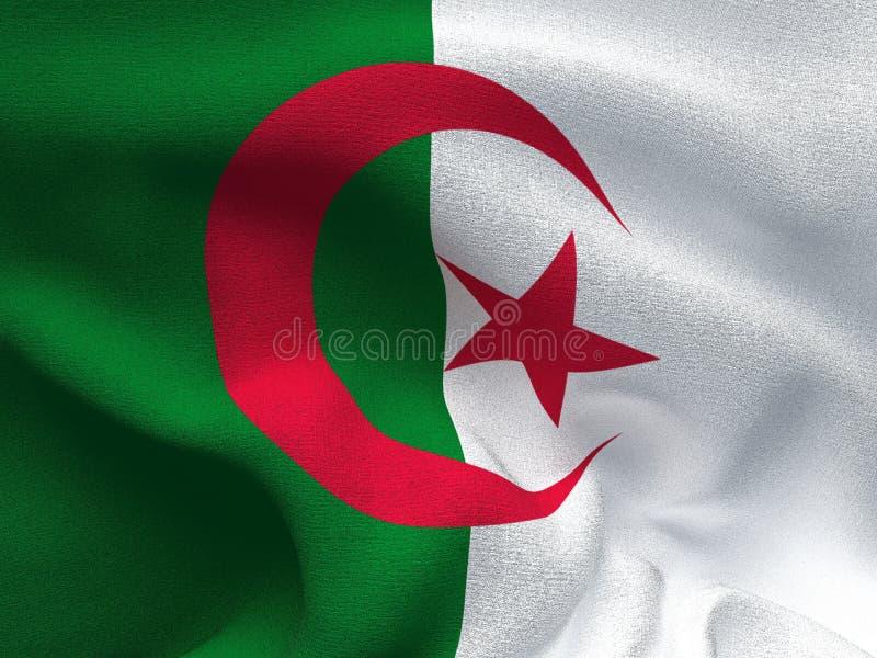 Текстура ткани с изображением флага Алжира, развевая в ветре иллюстрация штока