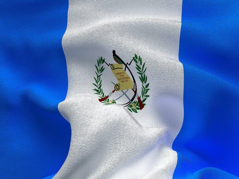 Текстура ткани с изображением флага Гватемалы, развевая в ветре иллюстрация штока