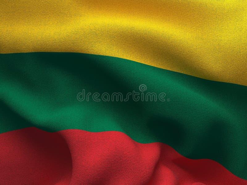 Текстура ткани с изображением флага Литвы, развевая в ветре иллюстрация вектора