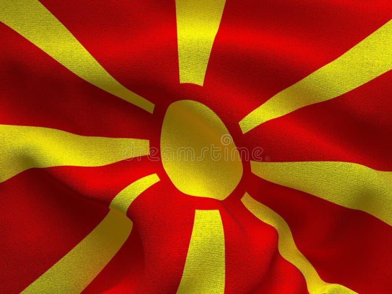 Текстура ткани с изображением флага македонии, развевая в ветре иллюстрация штока