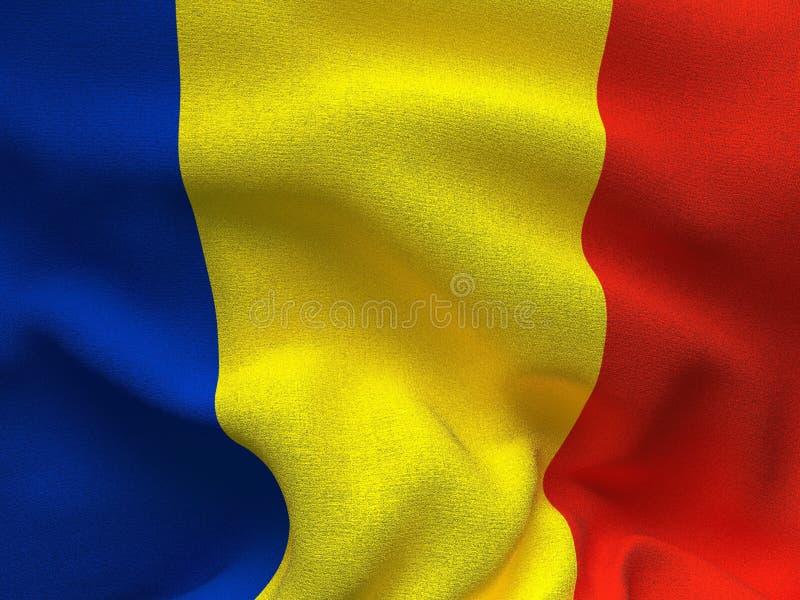 Текстура ткани с изображением флага Румынии, развевая в ветре бесплатная иллюстрация