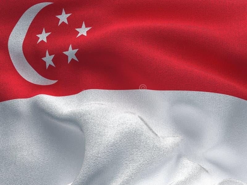 Текстура ткани с изображением флага Сингапура, развевая в ветре иллюстрация вектора
