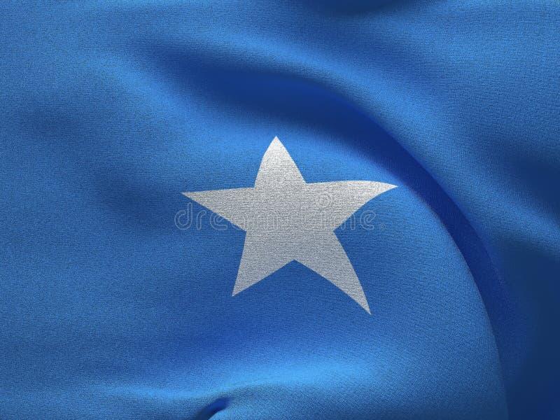 Текстура ткани с изображением флага Сомали, развевая в ветре иллюстрация штока