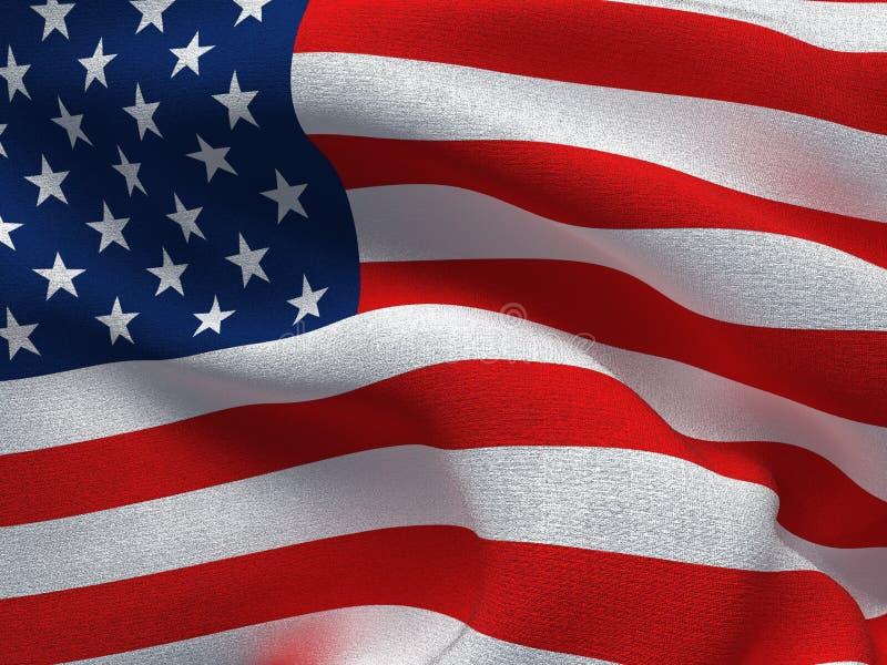 Текстура ткани с изображением флага США, развевая в ветре иллюстрация вектора