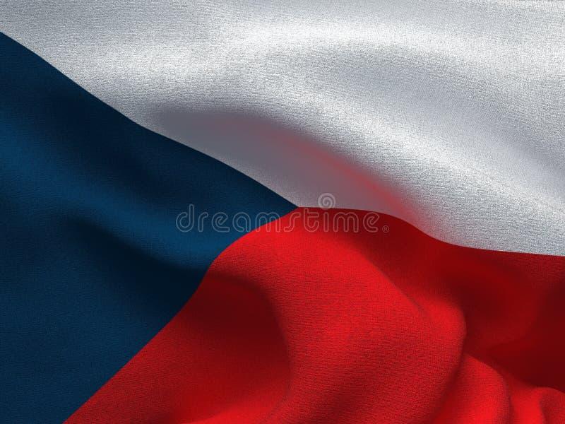 Текстура ткани с изображением флага чехии, развевая в ветре иллюстрация штока