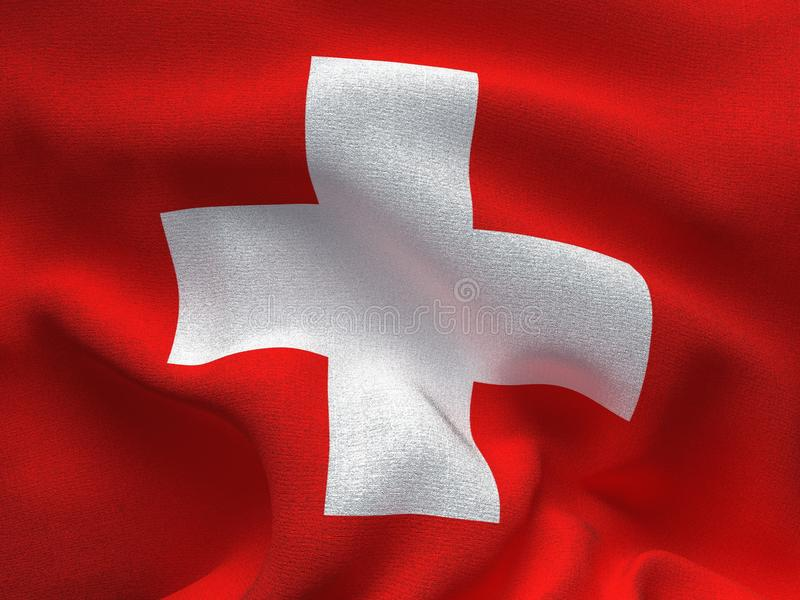 Текстура ткани с изображением флага Швейцарии, развевая в ветре иллюстрация штока