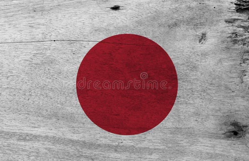 Текстура флага Grunge японская, красное солнце круга на белизне иллюстрация штока