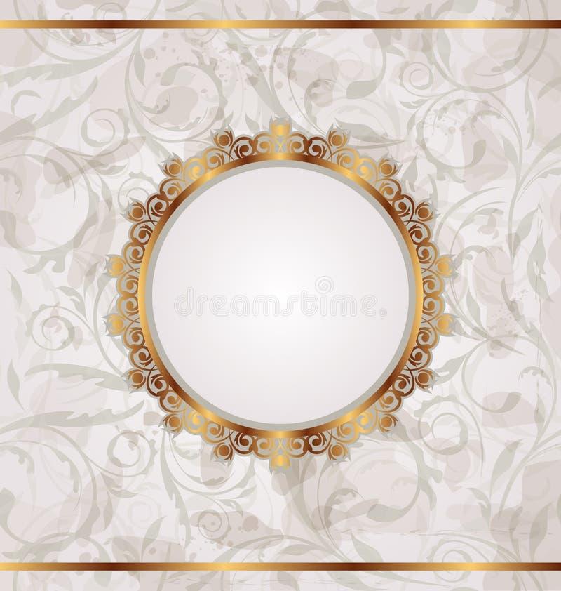 текстура флористической рамки золотистая ретро безшовная иллюстрация вектора