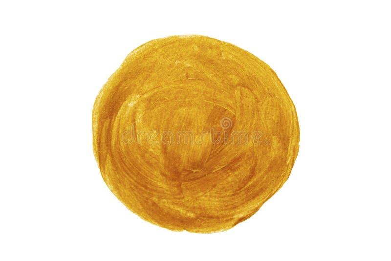 Текстура формы точки круга акрила золота изолированная на белом дизайне объекта взгляда сверху предпосылки стоковое фото rf