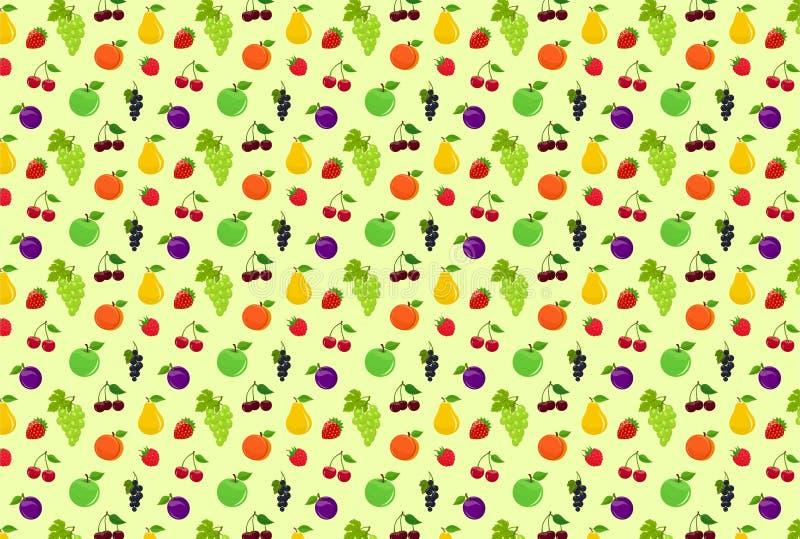текстура фруктов в саду без света. векторный фон с яблоками, грушами и Ñ€ иллюстрация штока
