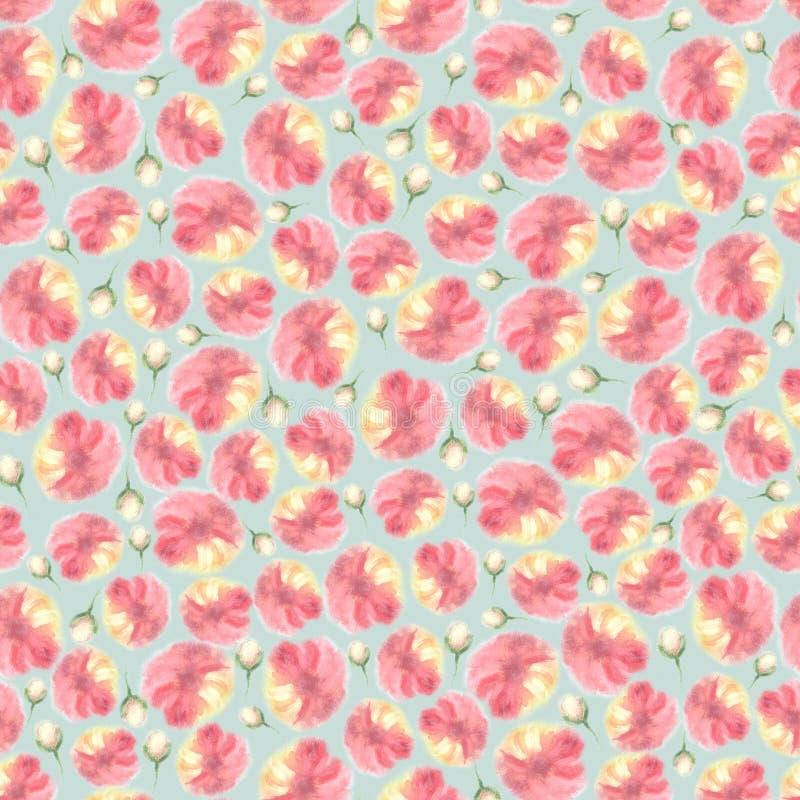 Текстура цвета воды флористическая безшовная, цветок нерезкости иллюстрация вектора